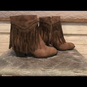 Pop Salem Fringe Ankle Booties, new with out tags
